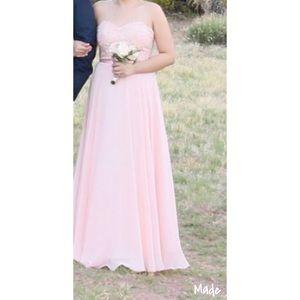 Blush strapless Bridesmaid Dress